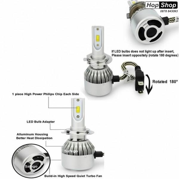 Диодни крушки Н7 за къси или дълги светлини - 7600 Лумена, 36W - 3000K от категория ДИОДНИ КРУШКИ,КРУШКИ