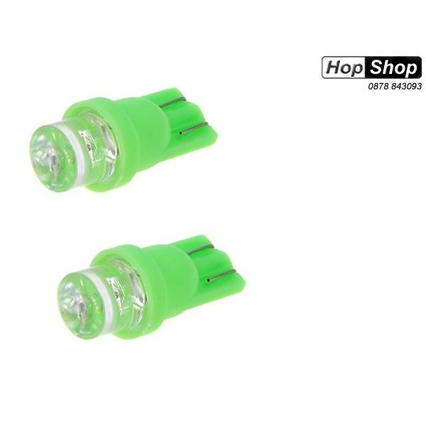 Диодни крушки тип Т10 - ( 12V - габарит ,мигач ) зелени 2бр к-кт от категория ДИОДНИ КРУШКИ,КРУШКИ