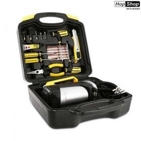 Комплект компресор за въздух 12V с инструменти за лепене на гуми от HopShop.Bg.
