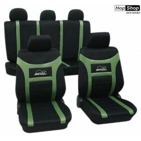 """Автотапицерия за седалки черно + зелено - Petex """"Super Speed"""" от HopShop.Bg."""