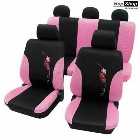 """Автотапицерия за седалки розово + черно -  """"Flower"""" от HopShop.Bg."""