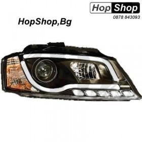 Кристални фарове лайтбар дизайн за Ауди А3 (2008-2012) - черни от HopShop.Bg.