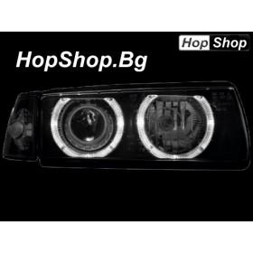 Кристални фарове BMW E36 Angel Eyes (96-00) - черен - 2вр от HopShop.Bg.