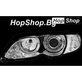 Кристални фарове Angel Eyes BMW E46 седан (2001-2003) - хром от HopShop.Bg.
