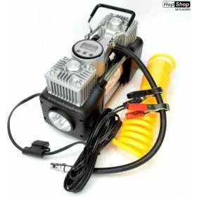 Компресор за гуми 12V - с 2 бутала  ( дигитален манометър - auto stop ) Silver Pro от HopShop.Bg.