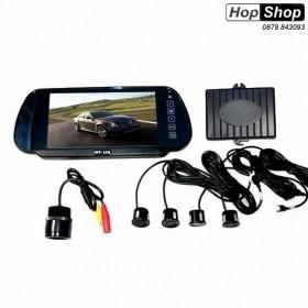 """Парктроник с цветен дисплей 7"""" в огледало с USB, Bluethooth правоъгълна камера ( черни датчици ) от HopShop.Bg."""