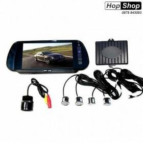 """Парктроник с цветен дисплей 7"""" в огледало с USB, Bluethooth кръгла камера ( сиви датчици ) от HopShop.Bg."""