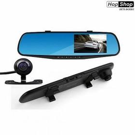 """Видеорегистратор 1080 FULL HD с 4,3"""" LCD дисплей в огледалото и камера за задно виждане и запис от HopShop.Bg."""