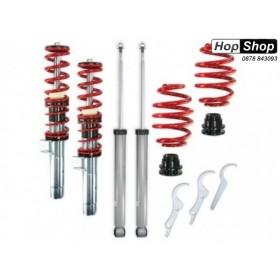 Регулируемо ( Спортно ) окачване за БМВ Е46 (1998-2005)  - Червени пружини от HopShop.Bg.