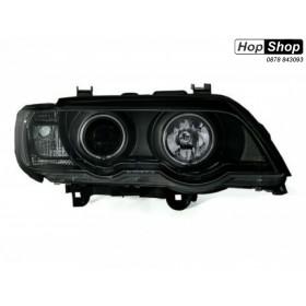 Кристални фарове с дневни светлини и ангелски очи за БМВ Х5  (99-03) - черни от HopShop.Bg.