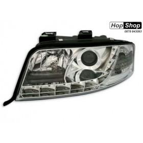 Кристални фарове за Ауди А6 с дневни светлини (2001-2003) - хром от HopShop.Bg.