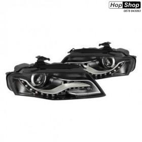 Кристални фарове с дневни светлини за Ауди А4 B8 (2007-2011) - черни от HopShop.Bg.