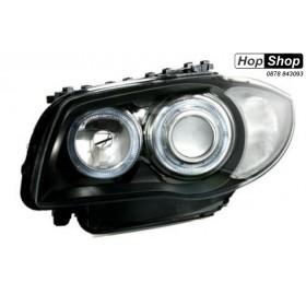 Кристални фарове за BMW E87 Angel Eyes (2004-2007) - черни от HopShop.Bg.
