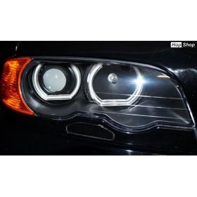 Ангелски Очи кристални BMW E46 с лупи седан, комби (1998-2005) / E46 купе (1998-2003) - U-Design - с два цвята от HopShop.Bg.