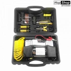 Компресор за въздух 12V двубутален с инструменти за лепене на гуми от HopShop.Bg.